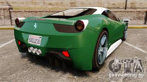 Ferrari 458 Italia для GTA 4 вид сзади слева