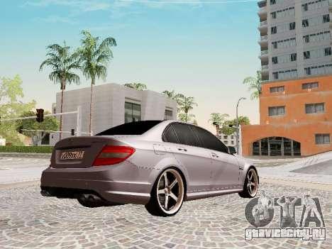 Mercedes-Benz C63 для GTA San Andreas вид сзади слева