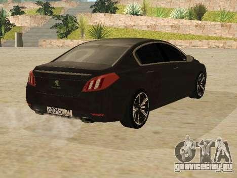 Peugeot 508 2011 v2 для GTA San Andreas вид справа