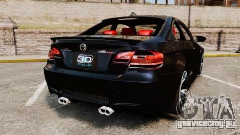 BMW M3 E92 AC Schnitzer ACS3-Sport v2.0 для GTA 4 вид сзади слева