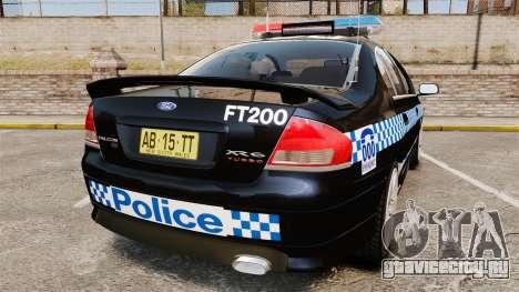 Ford BF Falcon XR6 Turbo Police [ELS] для GTA 4 вид сзади слева