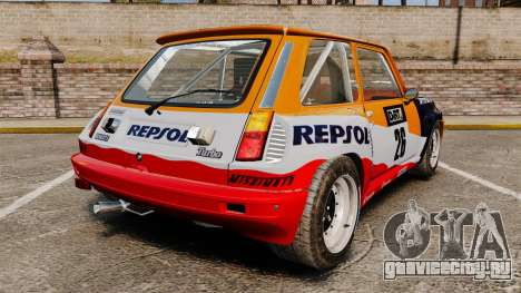Renault 5 Maxi Turbo для GTA 4 вид сзади слева