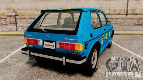 Volkswagen Rabbit GTI 1984 для GTA 4 вид сзади слева