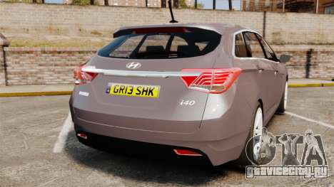 Hyundai i40 2013 Unmarked Police [ELS] для GTA 4 вид сзади слева