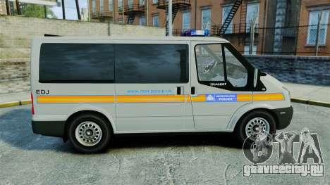 Ford Transit Metropolitan Police [ELS] для GTA 4 вид слева
