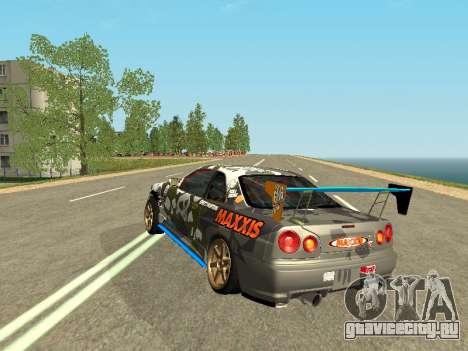 Nissan Skyline Drift для GTA San Andreas вид сзади слева