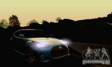 Hyundai Veloster для GTA San Andreas вид изнутри