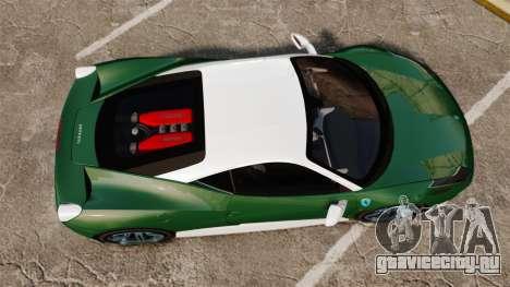 Ferrari 458 Italia для GTA 4 вид справа