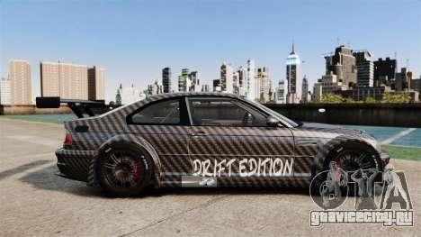 BMW M3 GTR 2012 Drift Edition для GTA 4 вид слева