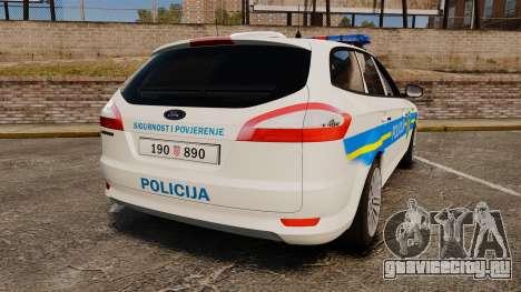 Ford Mondeo Croatian Police [ELS] для GTA 4 вид сзади слева