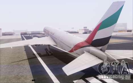 Emirates Airlines 777-200 для GTA San Andreas вид изнутри