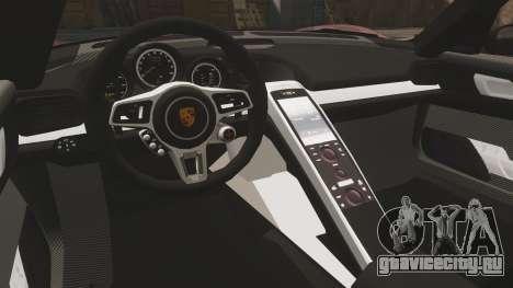 Porsche 918 Spyder для GTA 4 вид изнутри