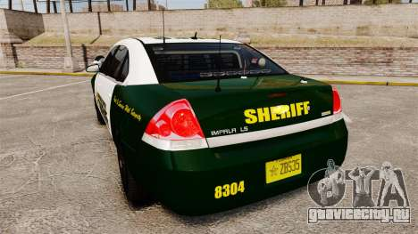 Chevrolet Impala 2010 Broward Sheriff [ELS] для GTA 4 вид сзади слева