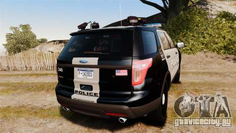 Ford Explorer 2013 LCPD [ELS] Black and Gray для GTA 4 вид сзади слева