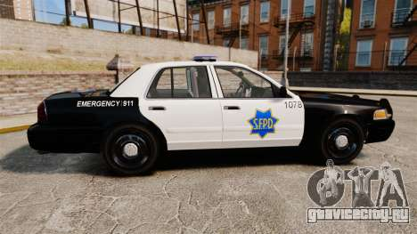 Ford Crown Victoria San Francisco Police [ELS] для GTA 4 вид слева