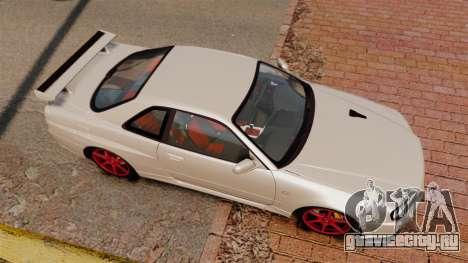 Nissan Skyline GT-R R34 V-Spec II для GTA 4 вид справа