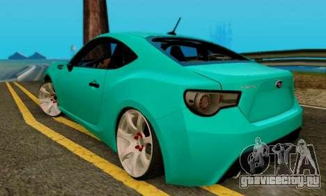 Subaru BRZ для GTA San Andreas вид сзади