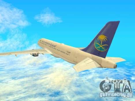 Airbus A320-200 Saudi Arabian для GTA San Andreas вид справа