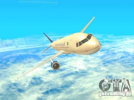 Airbus A320-200 Saudi Arabian для GTA San Andreas вид сзади
