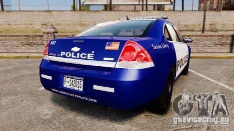 Chevrolet Impala 2008 LCPD [ELS] для GTA 4 вид сзади слева