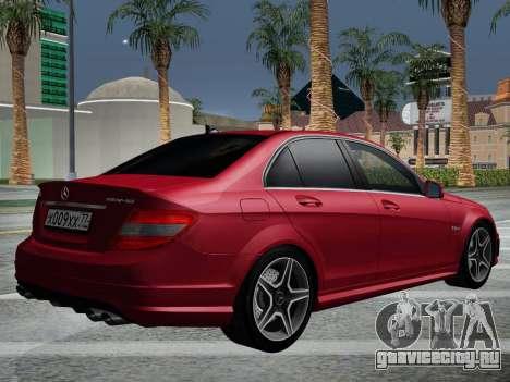 Mercedes-Benz C63 AMG HQLM для GTA San Andreas вид сбоку