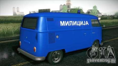 Volkswagen T1 Milicija для GTA San Andreas вид сзади слева