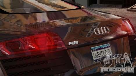 Audi R8 v1.1 для GTA 4 вид изнутри