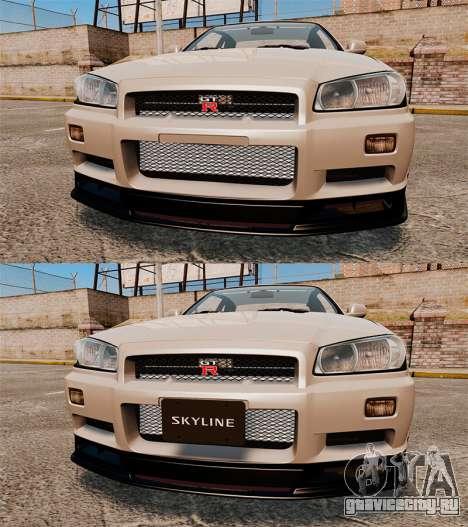 Nissan Skyline GT-R R34 V-Spec II для GTA 4 вид снизу