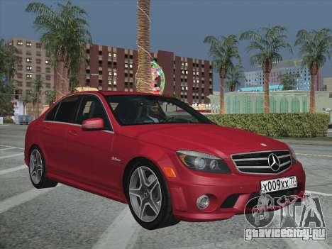 Mercedes-Benz C63 AMG HQLM для GTA San Andreas вид изнутри