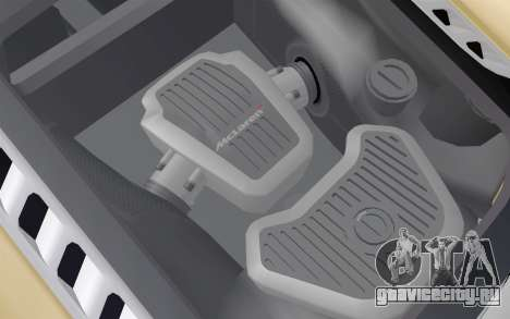 McLaren MP4-12C для GTA San Andreas вид изнутри
