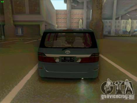 Toyota Alphard для GTA San Andreas вид сзади слева