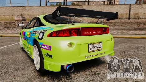 Mitsubishi Ecplise GS 1995 Racing Style для GTA 4 вид сзади слева