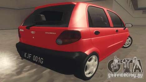 Daewoo Matiz I SE 1998 для GTA San Andreas вид сзади слева