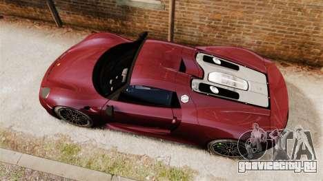 Porsche 918 Spyder для GTA 4 вид справа