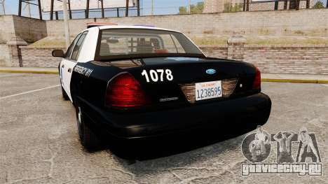Ford Crown Victoria San Francisco Police [ELS] для GTA 4 вид сзади слева