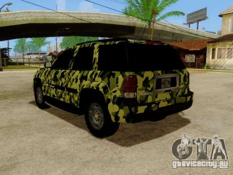 Chevrolet TrailBlazer Army для GTA San Andreas вид сзади слева