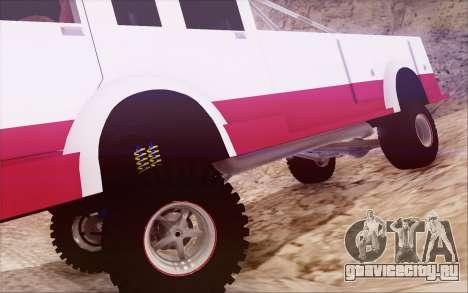 Offroad Firetruck для GTA San Andreas вид сзади