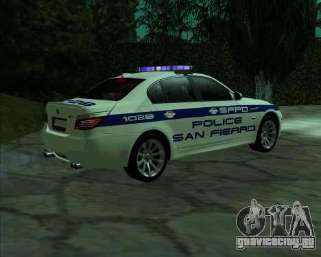 BMW M5 E60 Police SF для GTA San Andreas вид слева