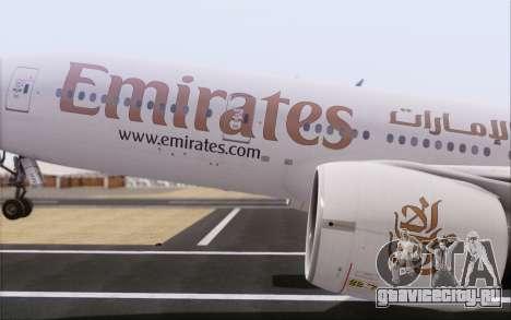 Emirates Airlines 777-200 для GTA San Andreas вид справа