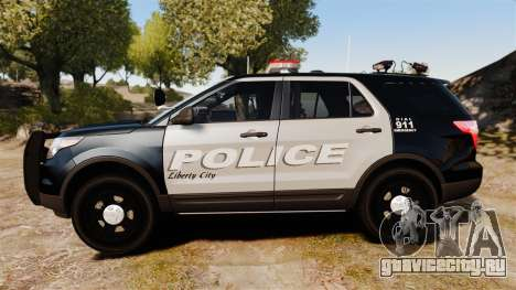 Ford Explorer 2013 LCPD [ELS] Black and Gray для GTA 4 вид слева