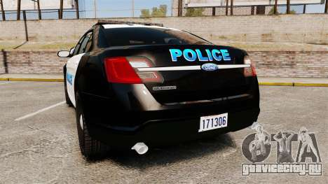 Ford Taurus Police Interceptor 2013 [ELS] для GTA 4 вид сзади слева