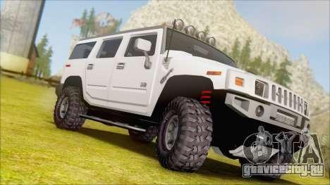 Hummer H2 Tunable для GTA San Andreas вид сзади