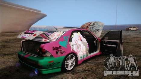 Toyota Altezza Sakura Miku Itasha для GTA San Andreas вид сбоку