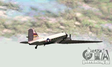 C-47 Дакота USAF для GTA San Andreas вид сзади слева