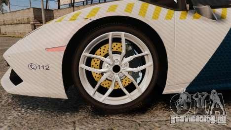 Lamborghini Huracan Hungarian Police [ELS] для GTA 4 вид сзади