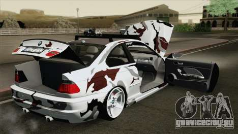 BMW M3 E46 Camo для GTA San Andreas вид изнутри