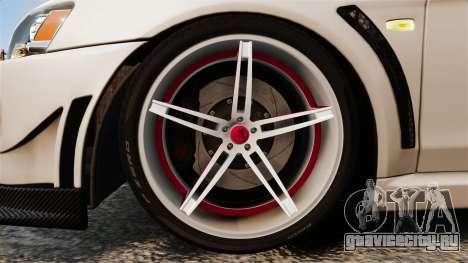 Mitsubishi Lancer Evolution X FQ400 (Cor Rims) для GTA 4 вид сзади