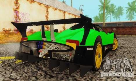 Pagani Zonda Type R Green для GTA San Andreas вид сзади слева