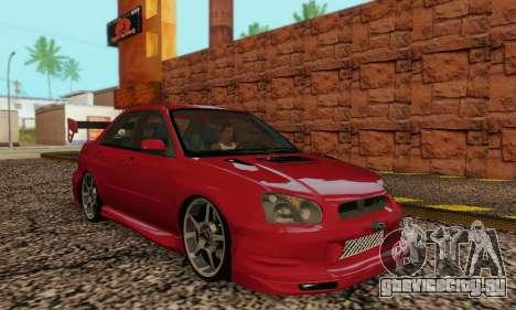 Subaru Impreza WRX фондовой для GTA San Andreas вид сзади