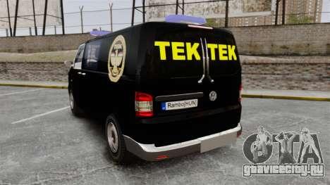 Volkswagen Transporter T5 Hungarian TEK [ELS] для GTA 4 вид сзади слева